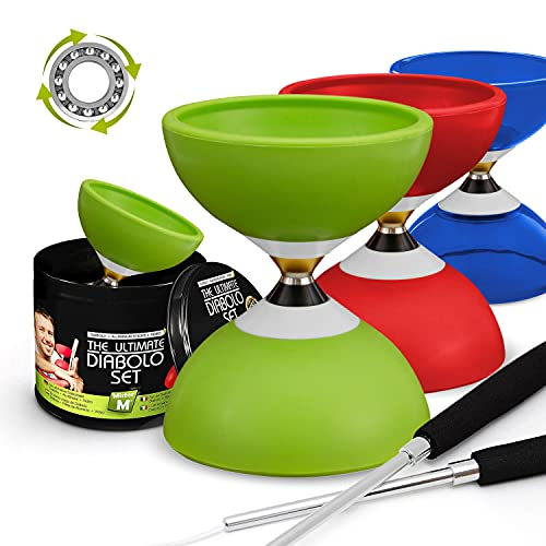 Ball Bearing Diabolo with 3 Ball Bearings + Sticks + Extra String + Free Online Video - Extra Quiet,...