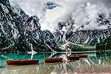 YANCONG Puzzles 1000 Piezas, Canoa Alpina En El Lago Bresse, Tirol del Sur, Italia Rompecabezas De Madera 75X50Cm