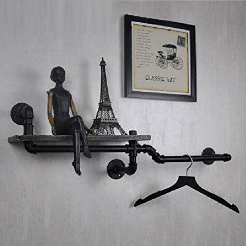YROAR Loft eau pipe rétro Creative étagères en bois, étagères murales industrielles, supports muraux pole