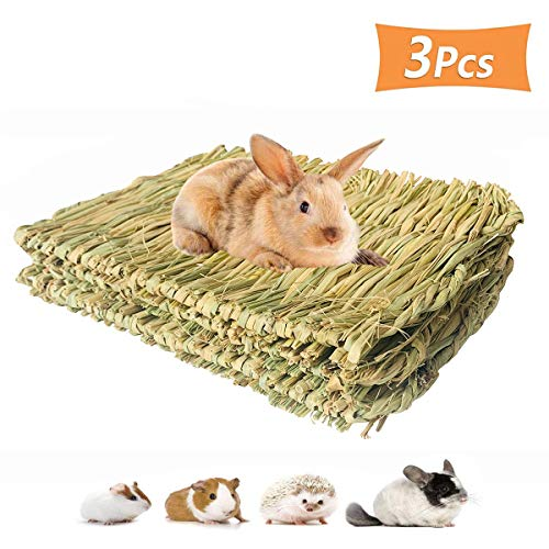 PIVBY Grass Mat for Rabbits Bunny Chew Toys Natural Woven Pet Bed Nest Mat Play Toys for Hamsters...