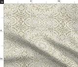 Spoonflower Stoff – Spitze Mandala Muster Creme Kunst
