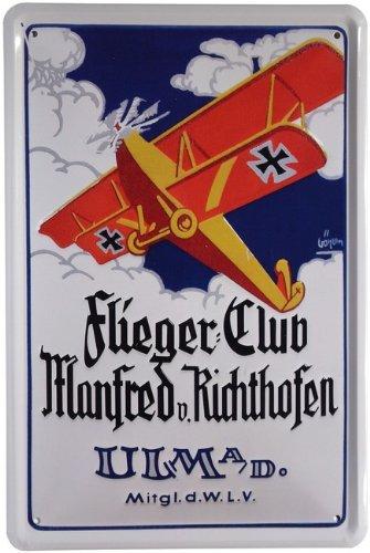 Metalen bord vliegenclub Manfred v. Richthofen 20 x 30cm reclame retro blik 30