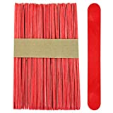 100 Sticks - Jumbo Wood Craft Popsicle Sticks 6 Inch (Red)