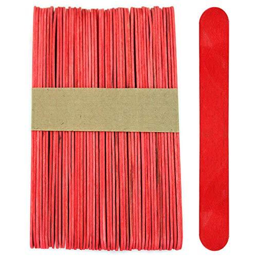 100 Sticks, Jumbo Wood Craft Popsicle Sticks 6 Inch (Red)