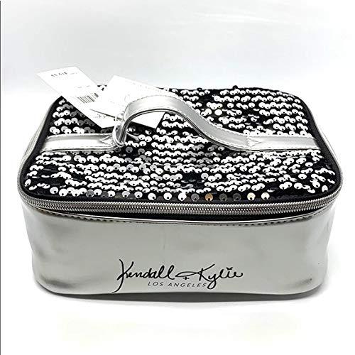 Kendall + Kylie Black And Silver Sequin Vanity Case/Makeup Bag