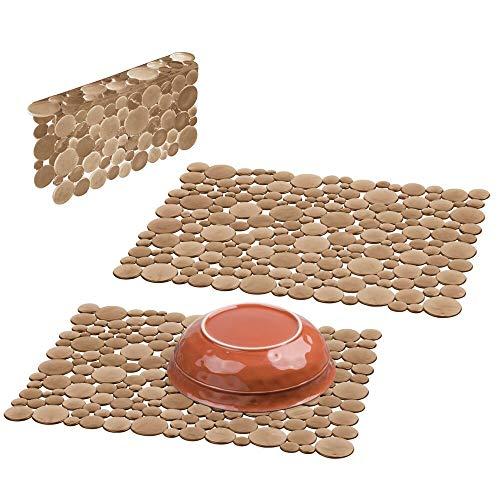mDesign Set da 3 Tappetini per lavello cucina in plastica – Grande tappetino lavandino protettivo – Accessori cucina per lavello a doppia vasca – rosso bruno