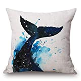 Asamour Watercolor Sea Animal Whale Pattern Cotton Linen Throw Pillow Case Square Cushion Cover Protector Home Sofa Bedding Decorative 18x18 Inches