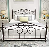 Vintage Sturdy Metal Bed Frame Queen Size with Vintage Headboard and Footboard Platform Base Bed Frame No Box Spring Needed Steel BedAntique BrownQueen.