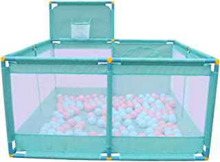 YEHL Playpen Baby Portable Play Yard Panel Children s Play Fence with Balls Shooting Fence Kid s Security Fence  66cm Tall  Color GREEN