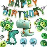 yuechen Decoracion Cumpleaños Dinosaurios,Globos de Cumpleaños Dinosaurios,Adornos Cumpleaños Dinosaurios,Banner Feliz Cumpleaños,Fiestas de Dinosaurios Globos,Fiesta Temática niña niño
