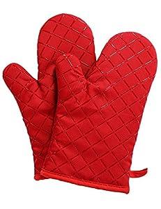Hitzebeständige Grillhandschuhe Lange Baumwolle Topfhandschuhe,1 paar & Silikon 28cm (Rot)