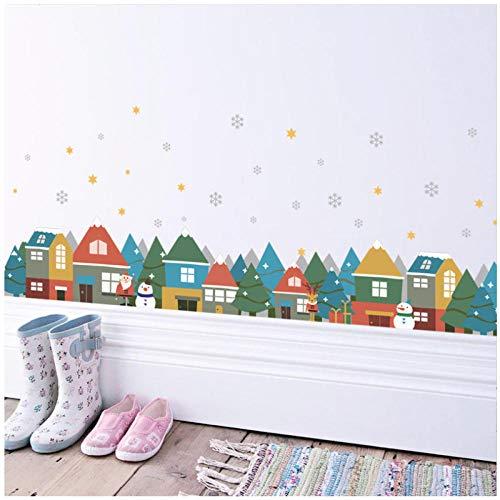 New European House Weihnachten Schneemann spielt Key Line Wohnzimmer TV Hintergrund Wandaufkleber
