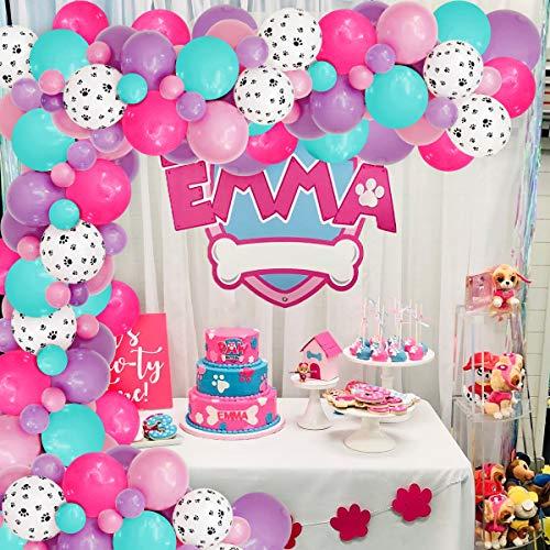 JOYMEMO Paw Patrol Balloon Garland para niñas, Estampado de Pata de Perro, Globos de Color Rosa púrpura Blanco para cumpleaños, Suministros para Fiestas de Baby Shower