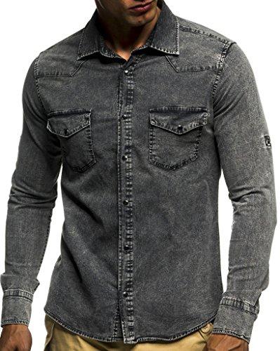 Leif Nelson Herren Jeans Hemd Slim Fit BŸgelleicht Trend Langarm Freizeit Denim; Größe S, Anthrazit