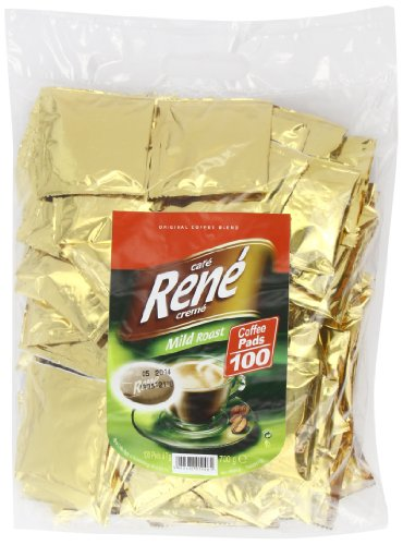 Café Rene Crème Mild Geröstet Kaffee Kissen (Packung von 1, Gesamt 100 Kaffee Kissen)