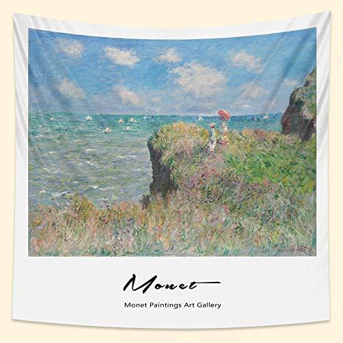 KHKJ Francés Monet Lirio de Agua Pintura al óleo hogar Arte Tapiz Bohemio Decorativo Yoga Mat sofá Manta sábana A5 200x150cm