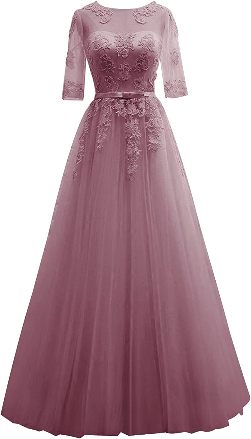 Mother of The Bride Dress Lace Formal Evening Gowns Tulle Prom Dresses with Sleeves