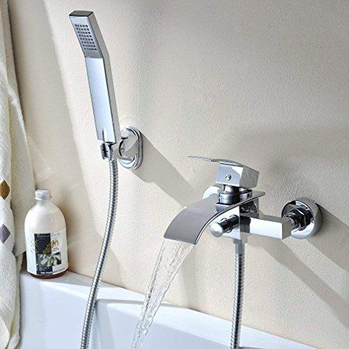 SHIOUCY Badewannen Armatur Set Handbrause Wanne Mischbatterie Wasserhahn Wasserfall Dusche Wasserhahn Küchenarmatur Armatur Mischbatterie, Versand aus Deutschland