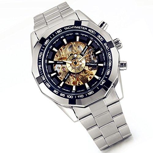 LANCARDO Reloj Comercial Mecánico Automático con Dial Hueco de Metal Pulsera Casual de Moda con Correa de Acero Inoxidable para Viaje Negocios para Hombre (Plata)