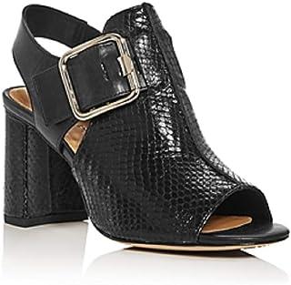 Donald Pliner Women's Anette Snake-Embossed Slingback Block-Heel Sandals BLACK 6.5M