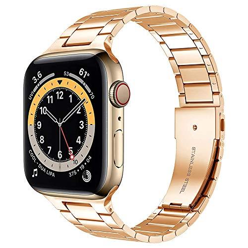 TaiWang Serie Compatible Apple Serie 6 Band Serie, [Ultra Delgada] Banda Ajustable de Acero Inoxidable para la Serie SE de Apple Watch SE 38mm 40 mm (Negro),Rose Gold,1.4/1.7 Inches