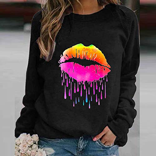Pistaz Women's Heart Butterfly Star Print Graphic Sweatshirts Crew Neck Long Sleeve Pullover Casual Blouse Loose Tops Shirts Tunic Style Chic Casual Casual