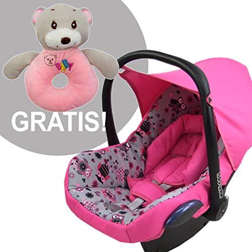 BAMBINIWELT Ersatzbezug für Maxi-Cosi CabrioFix 6-tlg, Bezug für Babyschale, Komplett-Set EULE $12 PINK + GRATIS