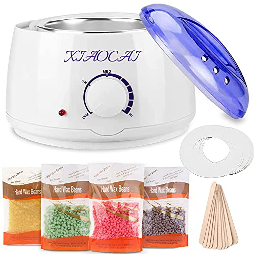 Wax Heater,Wax Warmer for Hair Removal with 4 Packs Hard Beads 10 PCS Spatulas,Painless at Home Hard...