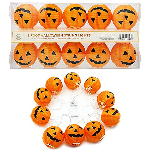 Halloween Decorations 10 LED Battery Powered 3' Purple and White Mini Round Lantern String Lights (Spooky Pumpkins)