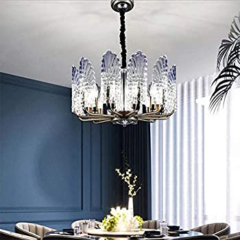 Modern Glass Ceiling Chandeliers 10 Lights Peacock Feather Iron Ceiling Light Chandelier with Adjustable Chain Transparent Glass Lampshades for Dining Living Room Restaurant Hotel Lighting