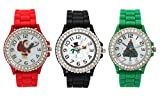 Silicone Holiday Geneva Boyfriend Watch with White Dial 3 Pack with Santa, XMas Tree, and Snowman