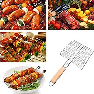 MARKET 24 - Grilling Accessories BBQ Basket - Stainless Steel BBQ Grill Grid with Wooden Handle Folder Barbecue Accessories 1pcs