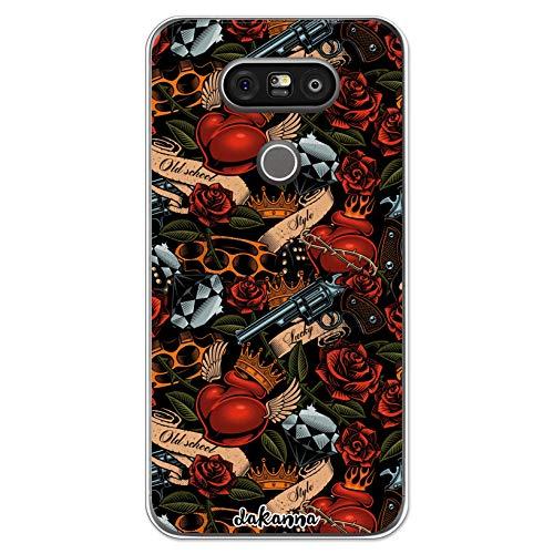 dakanna Custodia Compatibili con [LG G5 - G5 SE] Trasparente con Disegni [Tattoo Style Old School con Pistole e Rose] in Morbida Silicone TPU Flessibile, Shell Case Cover in Gel per Smartphone
