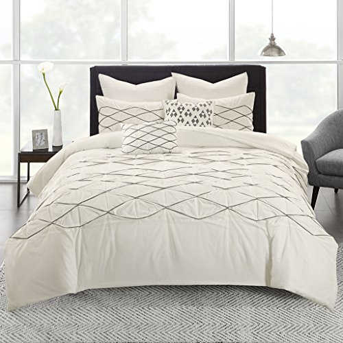Urban Habitat Sunita Cotton Pieced Tufted and Embroidered Duvet Cover Set White Twin/Twin XL