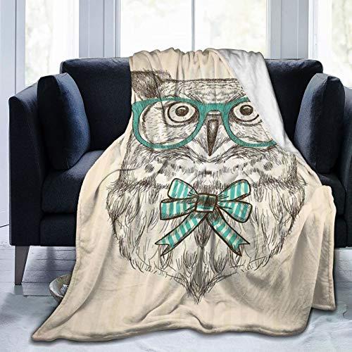 Manta mullida, pájaro del bosque con gafas hipster y pajarita en el fondo despojado vertical, ultra suave, manta para dormitorio, cama, TV, manta para cama de 152 x 127 cm