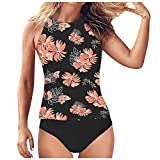 YHAIOGS Swimsuit for Women Sexy Womens Bathing Suits Two Piece Women's Tankini High Waist High Neck Halter Tummy Control Two Piece Swimsuit Black XXL