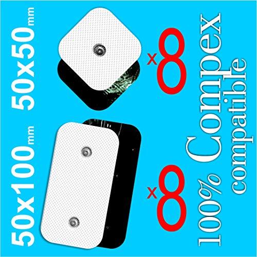 TENSPAD SILVER 16 Wiederverwendbare Elektroden für Compex (8 Elektroden 50x50mm mit 1 SNAP und 8 Elektroden 50x100mm mit 2 Snaps)