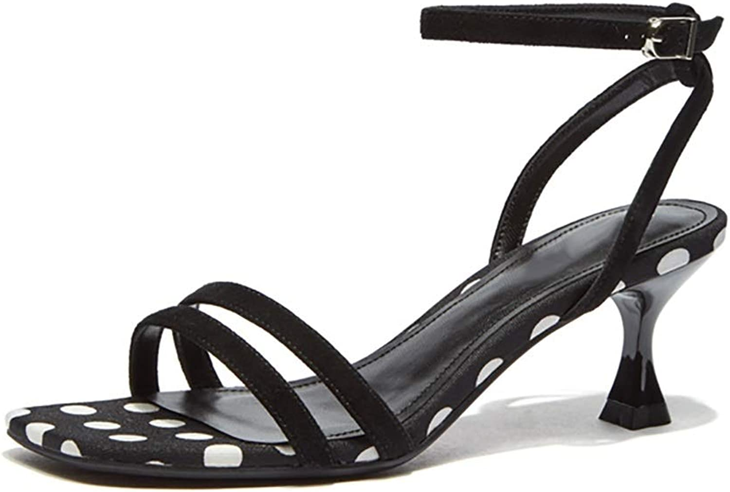 Women's Sandals Simple Wave Point High Heels, Black 7cm (color   Black, Size   6 US)