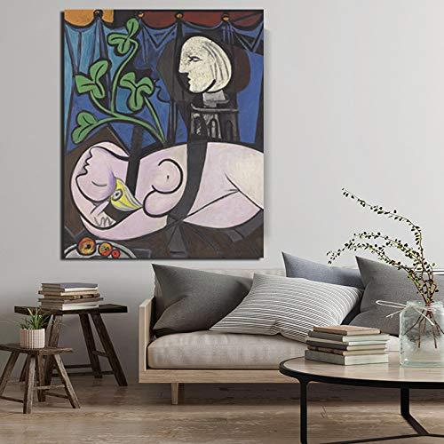 KWzEQ Berühmte nackte grüne Blätter des berühmten Malers und Leinwandgemälde-Wohnzimmerdekoration der Büste drucken,Rahmenlose Malerei,50x60cm