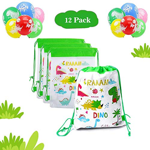 12Pcs Mochilas Dinosaurio,12Pcs Dinosaurs Balloons, Bolsas con Cordón Mochila Party Bolsas Tela no Tejida Mochila de Viaje Bolsa de Baile Gimnasio para Niños niñas Cumpleaños (Bolsa de dinosaurio)