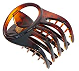"""Parcelona French Curvy Oval Paw Tortoise Shell Brown 3"""" Cellulose Acetate Side Slide In Scoop Jaw Hair Claw Clip Clutcher for Women and Girls (Tortoise Shell Brown)"""