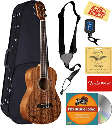 Oscar Schmidt OU52TAT-A-U Baritone Ukulele Satin with Tattoo Bundle with Case, Strings, Tuner, Strap, Instructional DVD, and Austin Bazaar Polishing Cloth