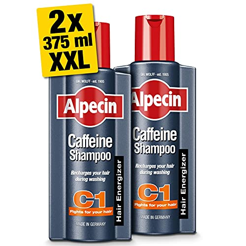 Alpecin Caffeine Shampoo C1 2x 375ml   Prevents and Reduces Hair Loss   Natural Hair Growth Shampoo for Men   Energizer for Strong Hair   Hair Care for Men Made in Germany