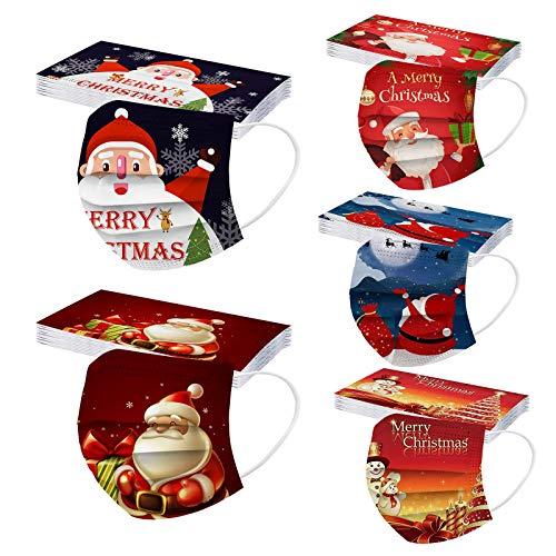 50 Stück Einmal-Mundschutz Erwachsene Motiv Einweg Weihnachten Lustig Muster 3Lagig Mund und Nasenschutz Atmungsaktive Weihnachtsmotiv Sport Bandana für Damen Männer Halstuch Schlauchtuch (F)
