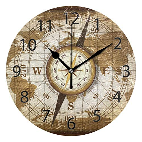 Reloj de pared decorativo para el hogar, oficina, silencioso, de madera, 25,4 cm, reloj de pared redondo para sala de estar, oficina (mapa y brújula de viaje vintage)