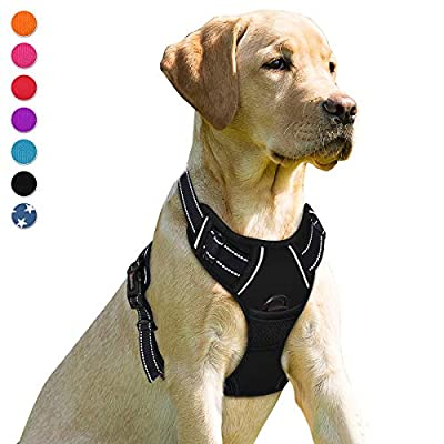 BARKBAY No Pull Dog Harness Front Clip Heavy Duty Reflective Easy Control Handle for Large Dog Walking(Black,L) by BARKBAY