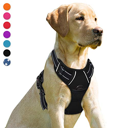 BARKBAY No Pull Dog Harness Front Clip Heavy Duty Reflective Easy Control Handle for Large Dog Walking(Black,L)