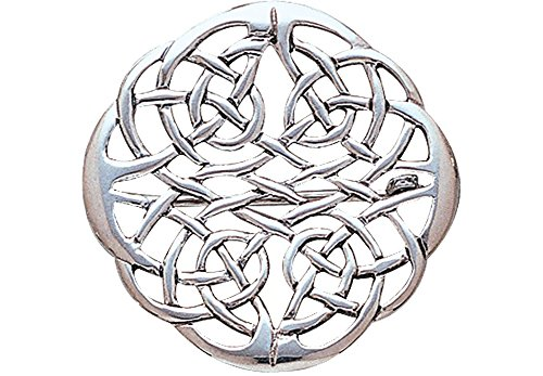 Jewelry Trends Round Celtic Knot Elegant Weave Sterling Silver Brooch Pin