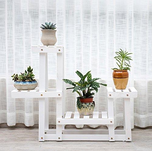 Présentoir de fleurs en bois en bois Plateau en bois étagère Rack de rangement intérieur extérieur Pots à étages à étages 63 * 62cm (Couleur : Blanc)