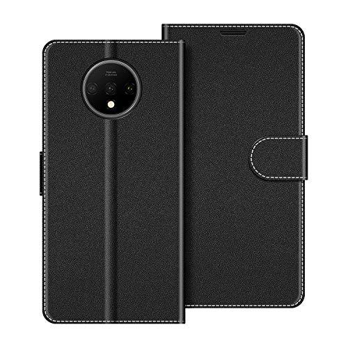 COODIO Custodia per OnePlus 7T, Custodia in Pelle OnePlus 7T, Cover a Libro OnePlus 7T Magnetica Portafoglio per OnePlus 7T Cover, Nero